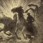 Horses charging over battlefield